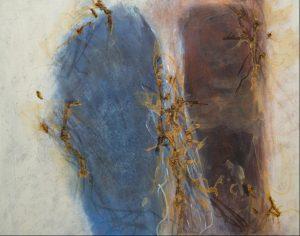 Abstrakt Acrylmalerei mit Rost auf Leinwand Bild: 100 x 80 cm