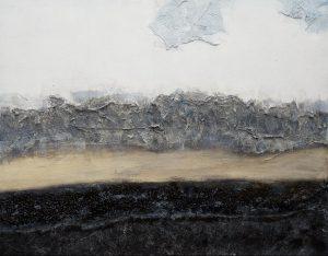 Neblige Stille Acrylmalerei mit Collage auf Leinwand Bild: 100 x 80 cm