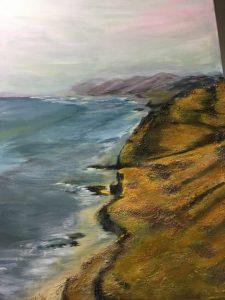 Felsenküste, Strukturpaste & Acrylfarben auf Leinwand Bild: 60 x 80m