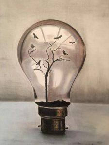 Gefangen in einer Glühbirne Buntstifte auf Papier Bild: 48 x 63 cm