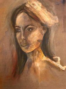 Mary Acrylmalerei mit Collage auf Leinwand Bild: 50 x 60 cm