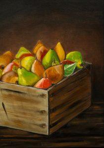Herbstbirnen Ölmalerei auf Leinwand Bild: 50 x 70 cm