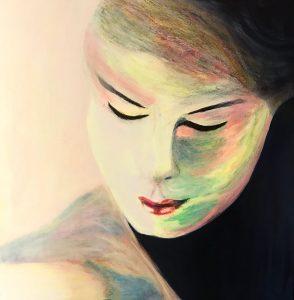Rote Lippen Pastell-Ölkreide / Acryl auf Leinwand, Bild: 60 x 60 cm