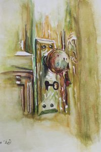 Türschloss Aquarellmalerei auf Papier Bild: 40 x 50 cm