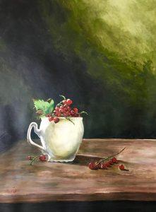 Omas Lieblingstasse Acrylmalerei auf Papier Bild: 46 x 57 cm