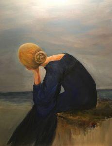 Nachdenklich Acrylmalerei auf Leinwand Bild: 60 x 80 cm