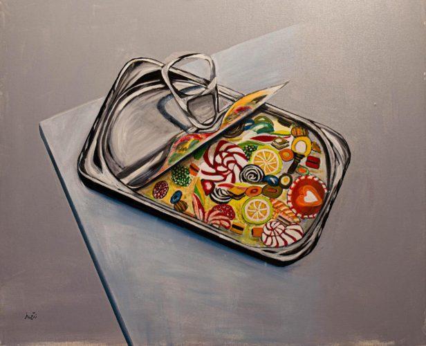 Sardinenbox mit BonbonsAcrylmalerei auf Leinwand 70 x 56 cm
