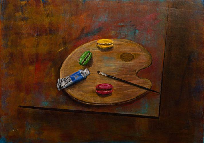 Macarons auf KünstlerpaletteAcrylmalerei auf Leinwand 80 x 60 cm