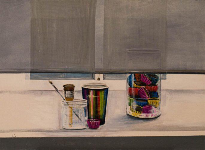 Verstecktes NaschenAcrylmalerei auf Leinwand 80 x 60 cm
