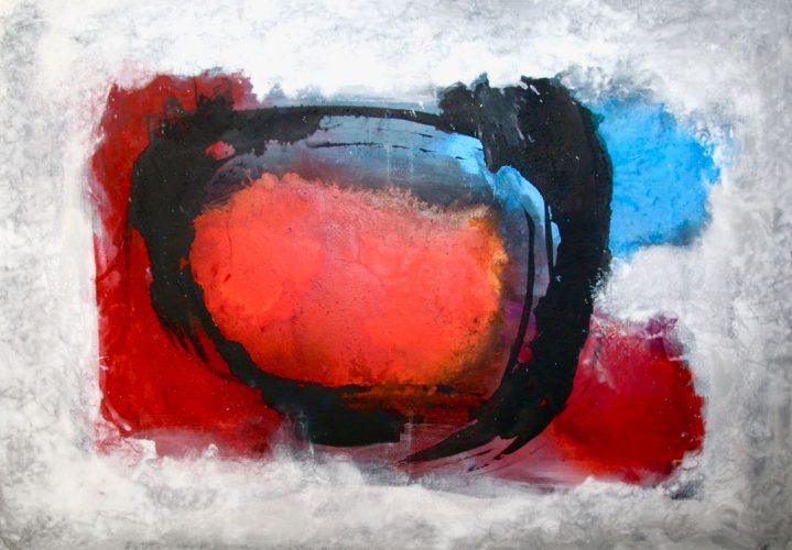 Abstrakt Rot - Blau - Schwarz Acrylmalerei auf Leinwand Bild: 100 x 70 cm