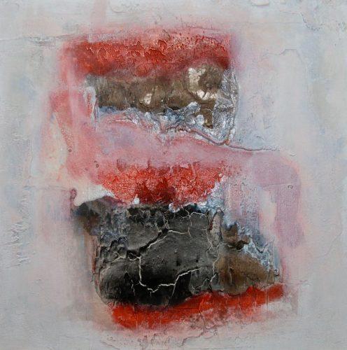 Wortlos Rot - Schwarz Marmormehl Bild: 40 x 40 cm