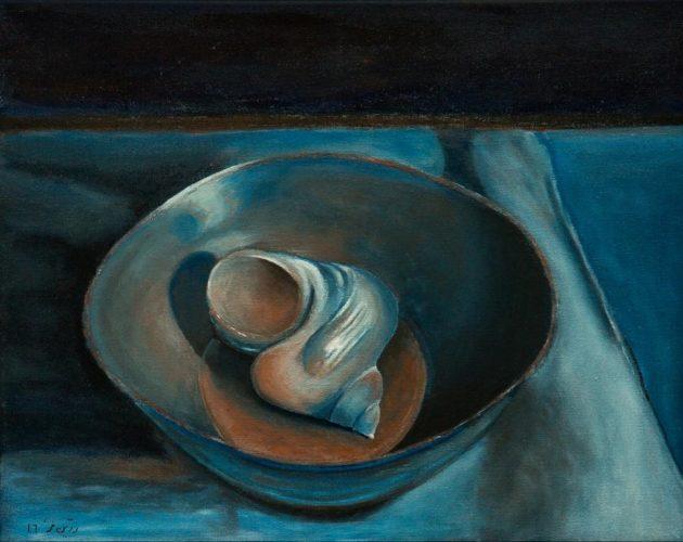 Muschel in der Schale Ölmalerei auf Leinwand Bild: 50 x 40 cm