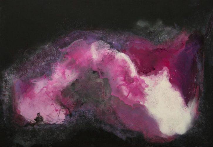 Versuchung in Magenta Acrylmalerei auf Leinwand Bild: 100 x 70 cm