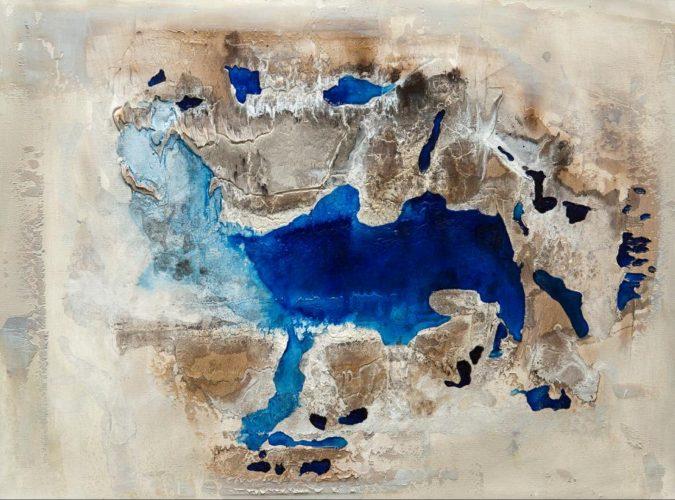 Blauer See Mamormehl & Pigmente auf Leinwand Bild: 80 x 60 cm