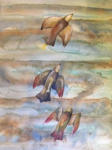 Tauben der Freiheit Aquarell auf Papier Bild: 38 x 56 cm / Rahmen = 53 x 73 cm