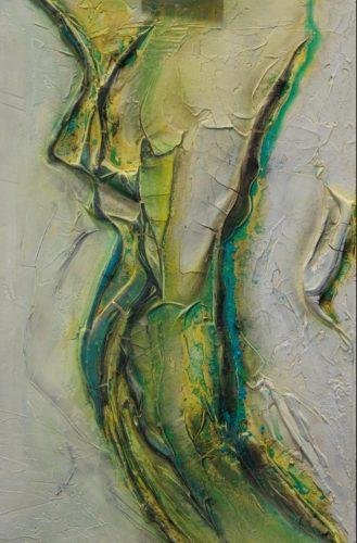 Frau Mamormehl & Pigmente auf Leinwand Bild: 40 x 60 cm