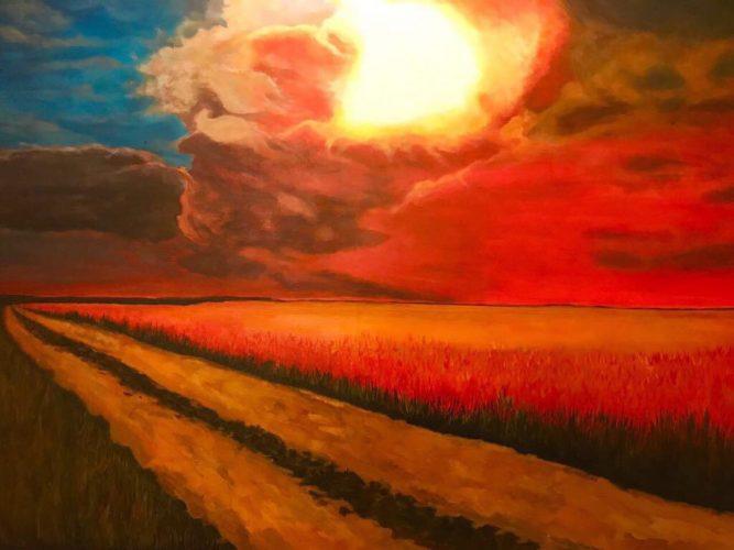 Sonnenuntergang Acrylmalerei auf Leinwand Bild: 100 x 70 cm / Rahmen 80 x 80 cm