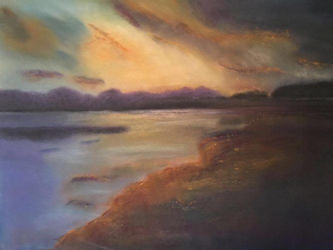 Sonnenuntergang am Meer Pastellkreide auf Papier Bild: 63 x 48 / Rahmen 83 x 63 cm