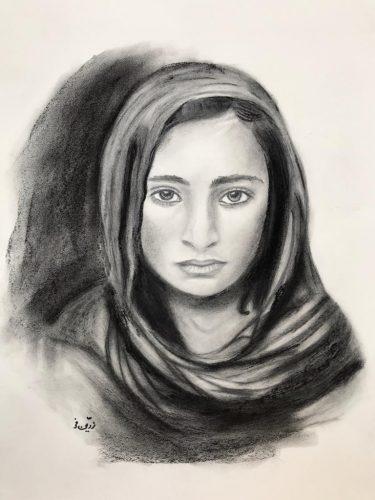 Leyla Grafit/Kohle auf Papier Bild: 43 x 60 cm