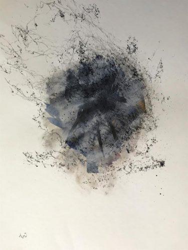 Abstrakt S/W Acrylmalerei auf Papier Bild: 50 x 65 cm