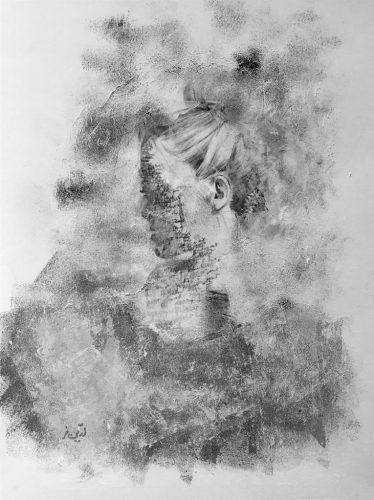 Frau im Nebel Acrylmalerei mit Collage auf Papier Bild: 42 x 56 cm